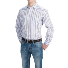 Roper Karman Classic Stripe Shirt - Snap Front, Long Sleeve (For Tall Men) in Red/Blue - Closeouts