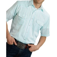 Roper Karman Classic Stripe Shirt - Snap Front, Short Sleeve (For Men) in Aqua - Closeouts