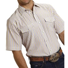 Roper Karman Classic Stripe Shirt - Snap Front, Short Sleeve (For Men) in Purple/Khaki - Closeouts