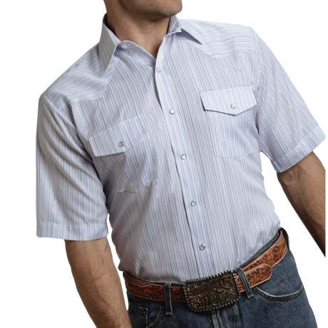 Roper Karman Classic Stripe Western Shirt Snap Front, Short Sleeve (For Men and Big Men)
