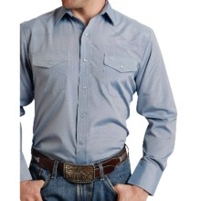 Roper Karman Classic Tone-on-Tone Shirt - Snap Front, Long Sleeve (For Men and Big Men) in Blue Diamond - Closeouts