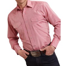 Roper Karman Classic Tone-on-Tone Shirt - Snap Front, Long Sleeve (For Men and Big Men) in Red Diamond - Closeouts