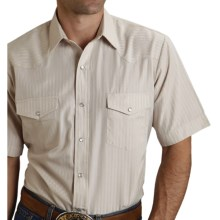 Roper Karman Classic Tone-on-Tone Shirt - Snap Front, Short Sleeve (For Men and Big Men) in Beige Dobby - Closeouts