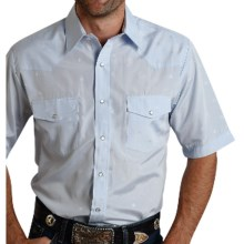 Roper Karman Classic Tone-on-Tone Shirt - Snap Front, Short Sleeve (For Men and Big Men) in Pale Blue Horsehead - Closeouts
