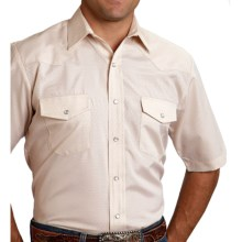Roper Karman Classic Tone-on-Tone Shirt - Snap Front, Short Sleeve (For Men and Big Men) in Tan Diamonds - Closeouts