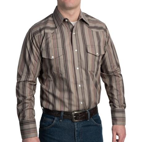 Roper Karman Dobby Stripe Shirt - Snap Front, Long Sleeve (For Men) in Brown