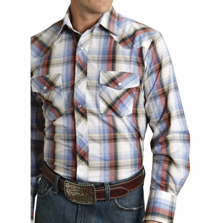 Roper Karman Plaid Shirt - Snap Front, Long Sleeve (For Men) in Black/Red/Blue