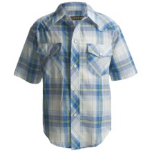 Roper Karman Plaid Shirt - Snap Front, Short Sleeve (For Boys) in Blue - Closeouts