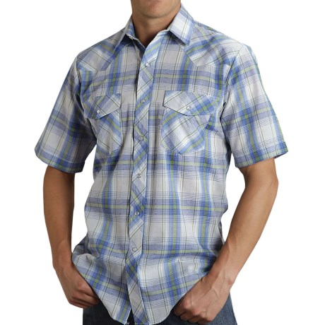 Roper Karman Plaid Shirt - Snap Front, Short Sleeve (For Men) in Blue