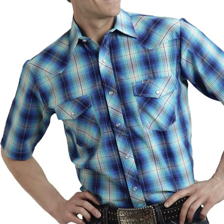 Roper Karman Plaid Shirt - Snap Front, Short Sleeve (For Men) in Bright Turquoise