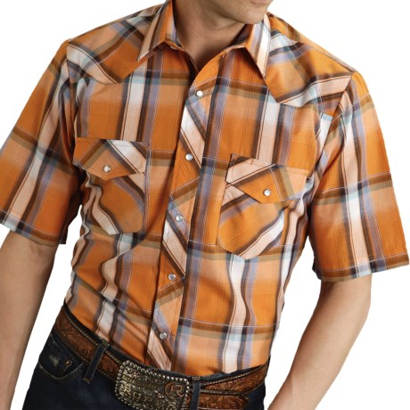 Roper Karman Plaid Shirt - Snap Front, Short Sleeve (For Men) in Orange/Brown