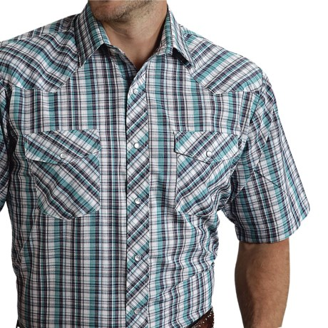 Roper Karman Plaid Shirt - Snap Front, Short Sleeve (For Men) in Turquoise