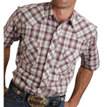 Roper Karman Plaid Shirt - Snap Front, Short Sleeve (For Men) in White/Red - Closeouts