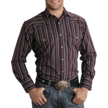 Roper Karman Quartz Stripe Shirt - Pearlized Snaps, Long Sleeve (For Men) in Black - Closeouts