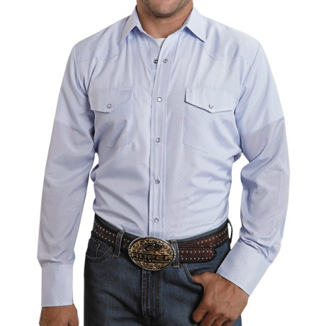 Roper Karman Shirt - Dobby, Long Sleeve (For Men) in Blue