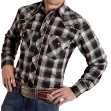 Roper Karman Special Lurex Plaid Shirt - Snap Front, Long Sleeve (For Men) in Brown/White - Closeouts