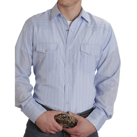 Roper Karman Stripe Shirt - Snap Front, Long Sleeve (For Men) in Blue