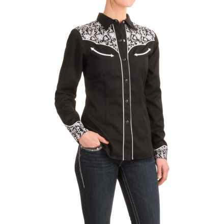 Roper Leaf Embroidered Western Shirt - Snap Front, Long Sleeve (For Women) in Black - Closeouts