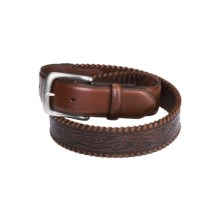 Roper Leather Belt (For Men) in Black/Brown Tip - Closeouts