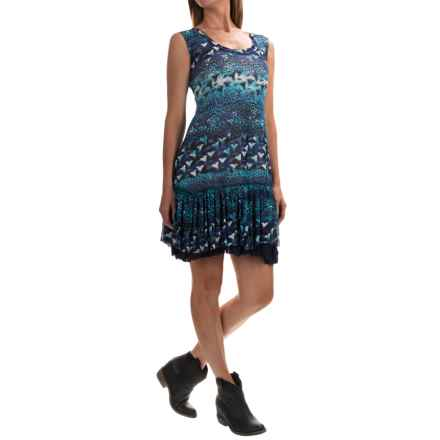 Roper Leopard and Floral Printed Dress - Sleeveless (For Women) in Blue - Overstock