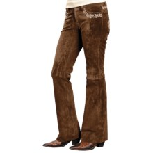 Roper Lightweight Suede Pants - Embroidered Trim (For Women) in Brown - Closeouts