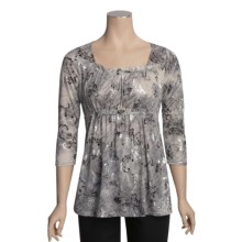 Roper Metallic Burnout Shirt - 3/4 Sleeve (For Women) in Grey - Closeouts