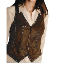 Roper Native Heritage Faux-Suede Vest (For Women) in Brown - Closeouts