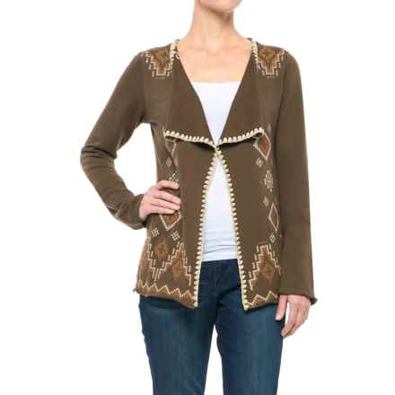 Roper Native Rituals French Terry Cardigan Jacket - Open Front (For Women) in Brown - Closeouts