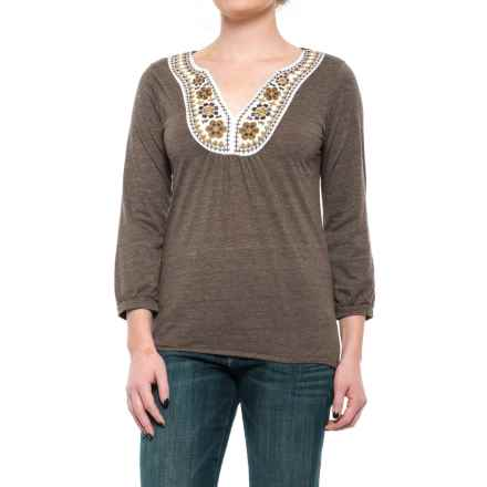 Roper Native Rituals Peasant Top - 3/4 Sleeve (For Women) in Brown - Closeouts