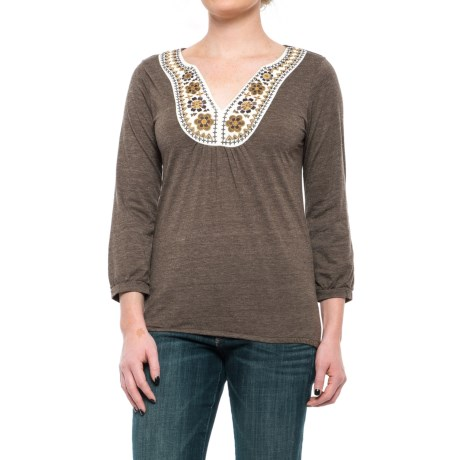 Roper Native Rituals Peasant Top - 3/4 Sleeve (For Women) in Brown