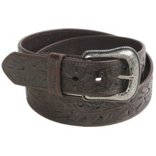 Roper Oak Acorn Leaf Belt - Leather (For Men) in Dark Brown - Closeouts