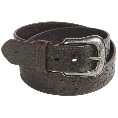 Roper Oak Acorn Leaf Belt - Leather (For Men) in Dark Brown