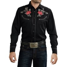 Roper Old West Baroque Rose Shirt - Snap Front, Long Sleeve (For Men) in Black - Closeouts