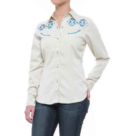 Roper Old West Blue Aztec Embroidery Shirt - Snap Front, Long Sleeve (For Women) in White - Closeouts