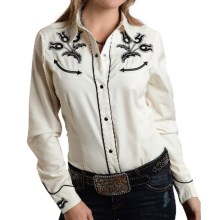 Roper Old West Classic Western Shirt - Snap Front, Long Sleeve (For Women) in White - Closeouts