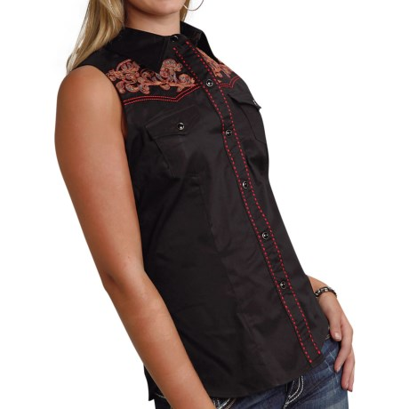 Roper Old West Collection Embroidered Western Shirt Snap Front, Sleeveless (For Women)