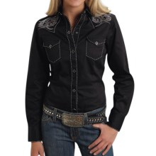 Roper Old West Collection Tribal Keystone Western Shirt - Snap Front, Long Sleeve (For Women) in Black - Closeouts