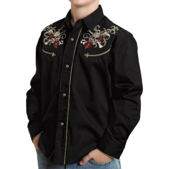 Roper Old West Embroidered Shirt - Snap Front, Long Sleeve (For Boys) in Black