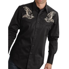 Roper Old West Gun Embroidered Western Shirt - Snap Front, Long Sleeve (For Men and Big Men) in Black/Baroque Gun - Closeouts