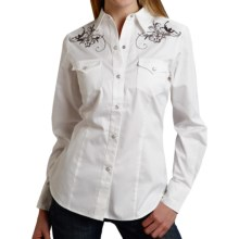 Roper Old West Ornate Swirl Embroidered Western Shirt - Snap Front, Long Sleeve (For Women) in White - Overstock