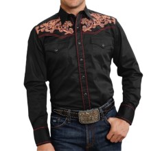 Roper Old West Summer I Paisley Embroidered Western Shirt - Snap Front, Long Sleeve (For Men and Big Men) in Black/Stitch Tooling - Closeouts