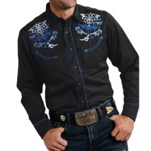 Roper Old West Summer II Embroidered Western Shirt - Snap Front, Long Sleeve (For Men and Big Men) in Black/Multi Swirl - Closeouts
