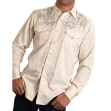 Roper Old West Summer II Six Shooter Western Shirt - Snap Front, Long Sleeve (For Men and Big Men) in White/Antique Six Shooter - Closeouts