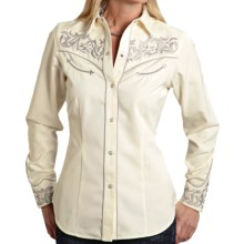Roper Old West Twill Embroidered Shirt - Snap Front, Long Sleeve (For Women) in White - Closeouts