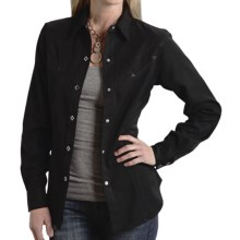 Roper Old West Twill Shirt - Snap Front, Long Sleeve (For Women) in Black - Closeouts