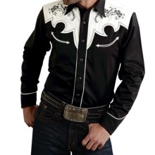 Roper Old West Vintage Two-Tone Shirt - Snap Front, Long Sleeve (For Men) in Black/White - Closeouts