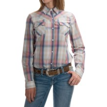 Roper Ombre-Plaid Western Shirt - Snap Front, Long Sleeve (For Women) in Blue - Overstock