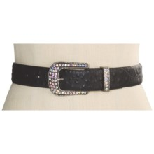 Roper Ostrich Print Belt - Leather (For Women) in Black - Closeouts