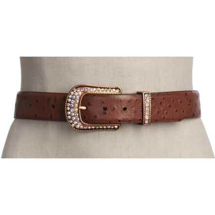Roper Ostrich Print Belt - Leather (For Women) in Cognac - Closeouts