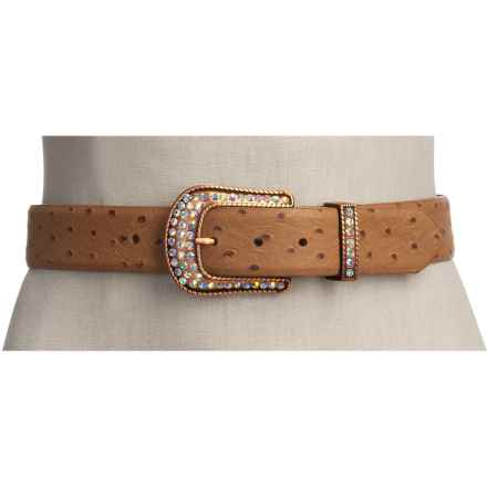 Roper Ostrich Print Belt - Leather (For Women) in Light Brown - Closeouts